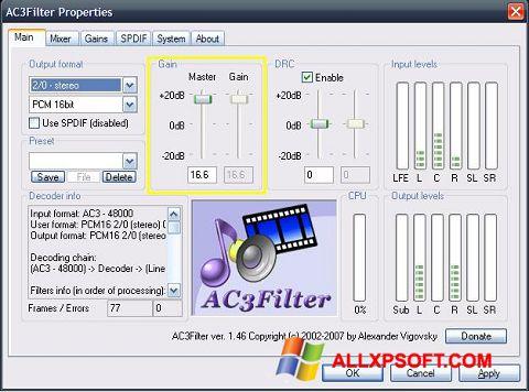 Screenshot AC3Filter Windows XP