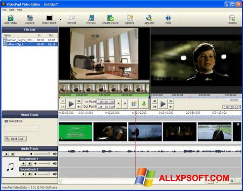 Screenshot VideoPad Video Editor Windows XP
