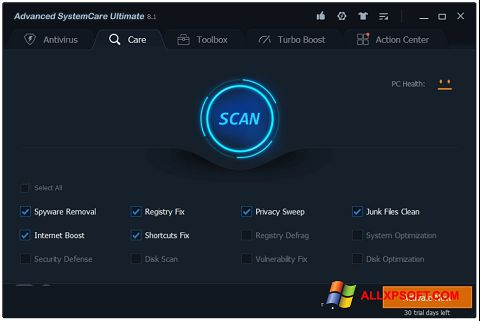 Screenshot Advanced SystemCare Windows XP