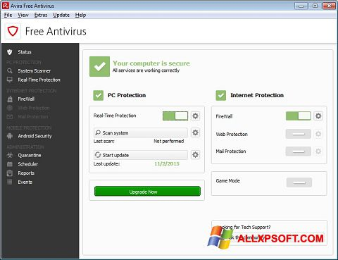 Screenshot Avira Free Antivirus Windows XP