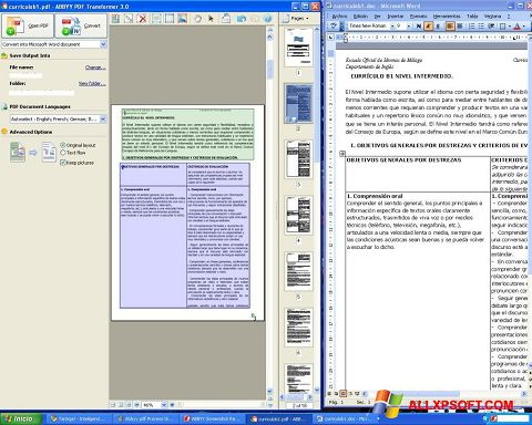 Screenshot ABBYY PDF Transformer Windows XP