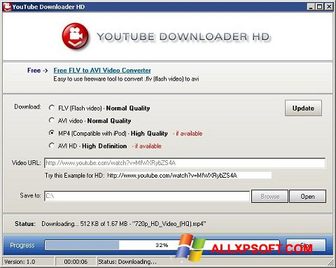 Screenshot Youtube Downloader HD Windows XP