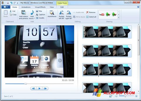 Screenshot Windows Live Movie Maker Windows XP