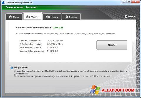 Screenshot Microsoft Security Essentials Windows XP